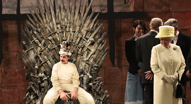Freddie Mercury on the Iron Throne