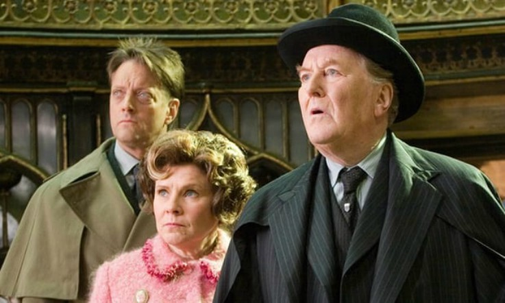 Hardy with Imelda Staunton as Fudge in Harry Potter