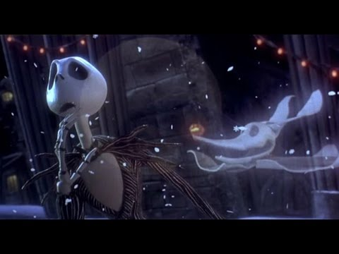 Scene from Nightmare Before Christmas with Jack Skellington and Zero