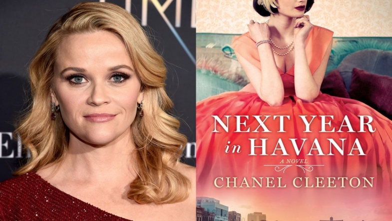Reese Witherspoon next to book cover