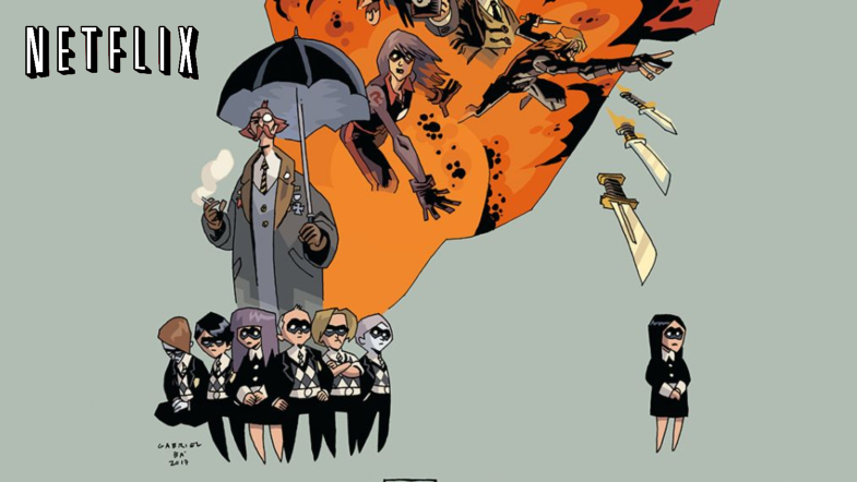 Netflix logo and promotional image for 'The Umbrella Academy'