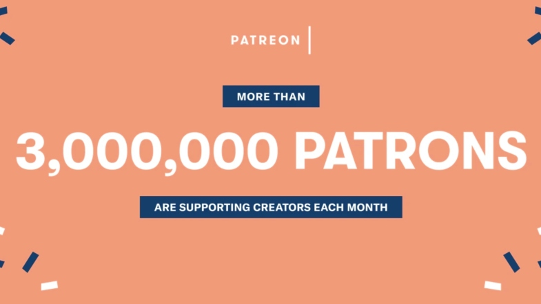 Patreon Logo - 3 million patrons