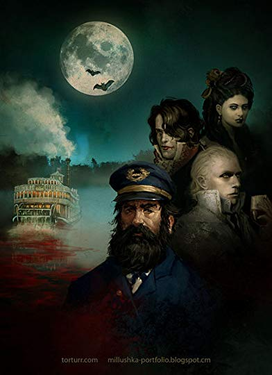 The cover to Fevre Dream by George R.R. Martin, featuring the principal cast against a river, the moon high above and a steam boat rushing through the water, trailing blood