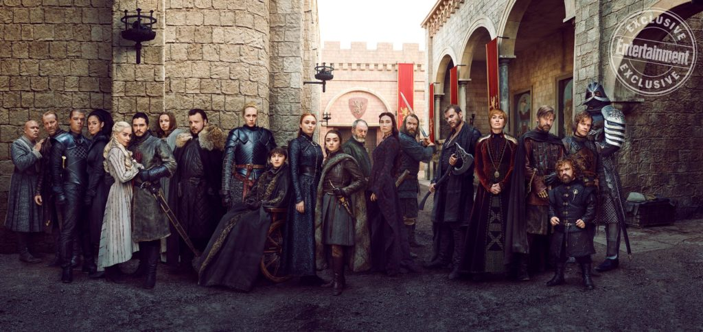 The cast of Game of Thrones stand assembled in a mighty group picture