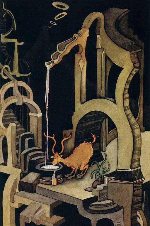 A deer drinks from a twisted water spout while surrounded by a strange, surreal world of light and shadow in this painting by Dr. Seuss