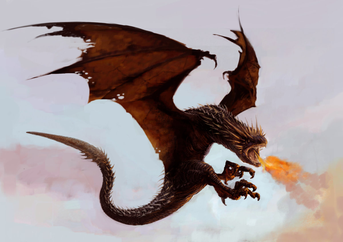 A Hungarian horntail, a dragon, flies against the sky and breathes fire