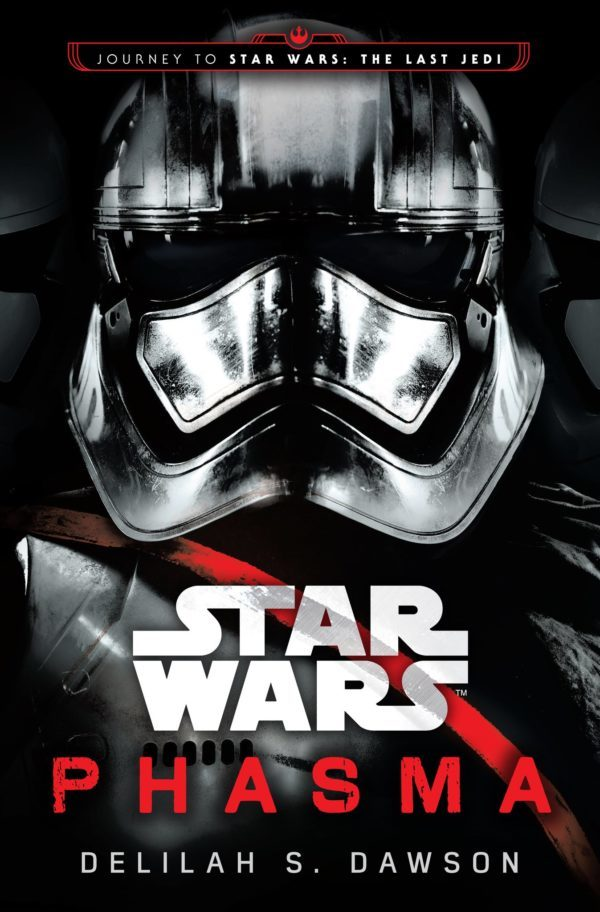 Phasma in closeup on the cover of her novel, Phasma