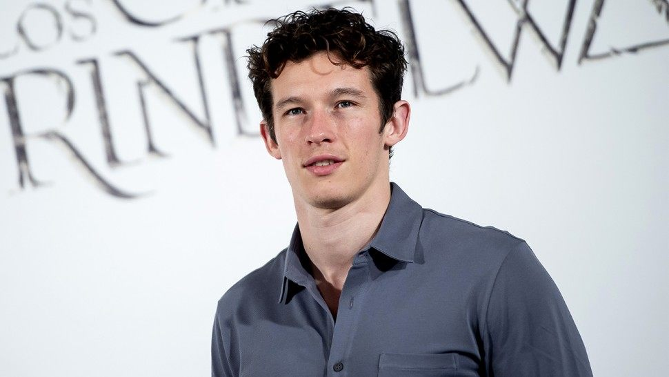 Callum Turner stands underneath a bright white sign for 'Grindlewad' at its premiere