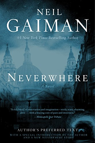 The cover to Neverwhere, showcasing the London cityscape and a subway tunnel beneath