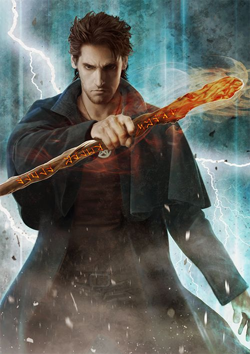 The wizard Harry Dresden clutches a staff covered in runes before a raging storm
