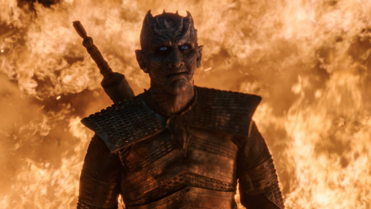 The Night King stands tall in a towering inferno