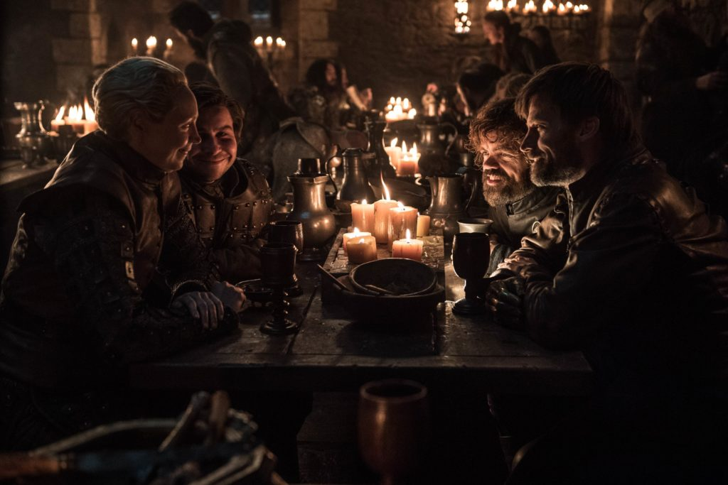 Podrick, Brienne, Tyrion, and Jaime play a drinking game