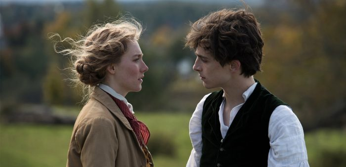 Saoirse and Timothée as Jo and Laurie