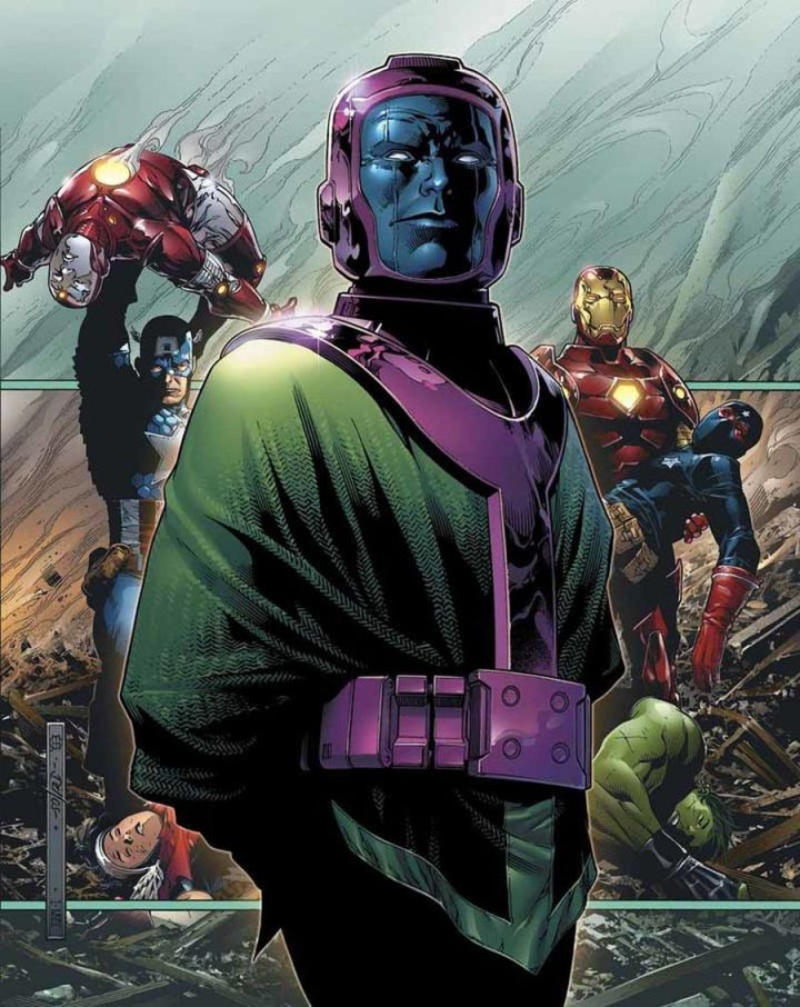 Kang the Conqueror smugly stands before the defeated Avengers