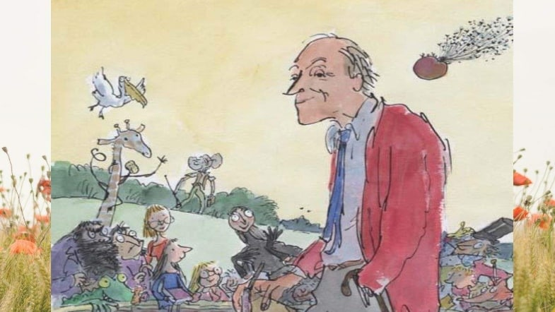 Roald Dahl in drawn-form with his children's book characters